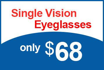 Single Vision Eyeglasses only $68